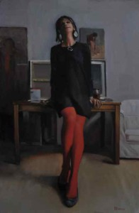 Jennifer (red tights day). Olieverf op doek / Oil on canvas. 60 x 40 cm.