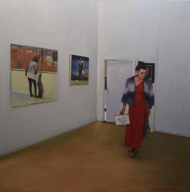 De expositie (van Martin Koole) 80 x 80 cm. €2250,-